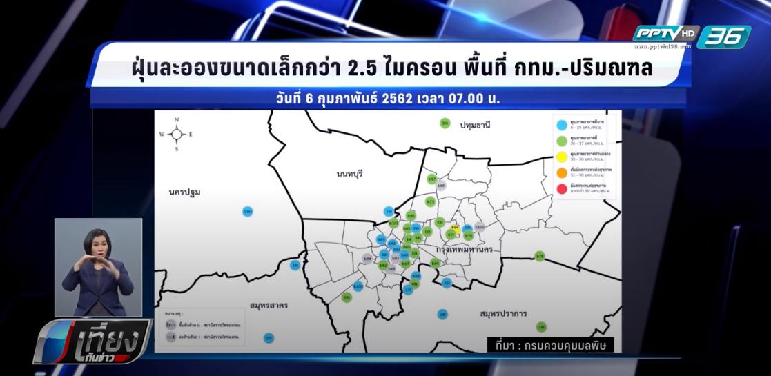 ค่าฝุ่น PM2.5 หลายพื้นที่ของประเทศ อยู่ในเกณฑ์มาตรฐาน
