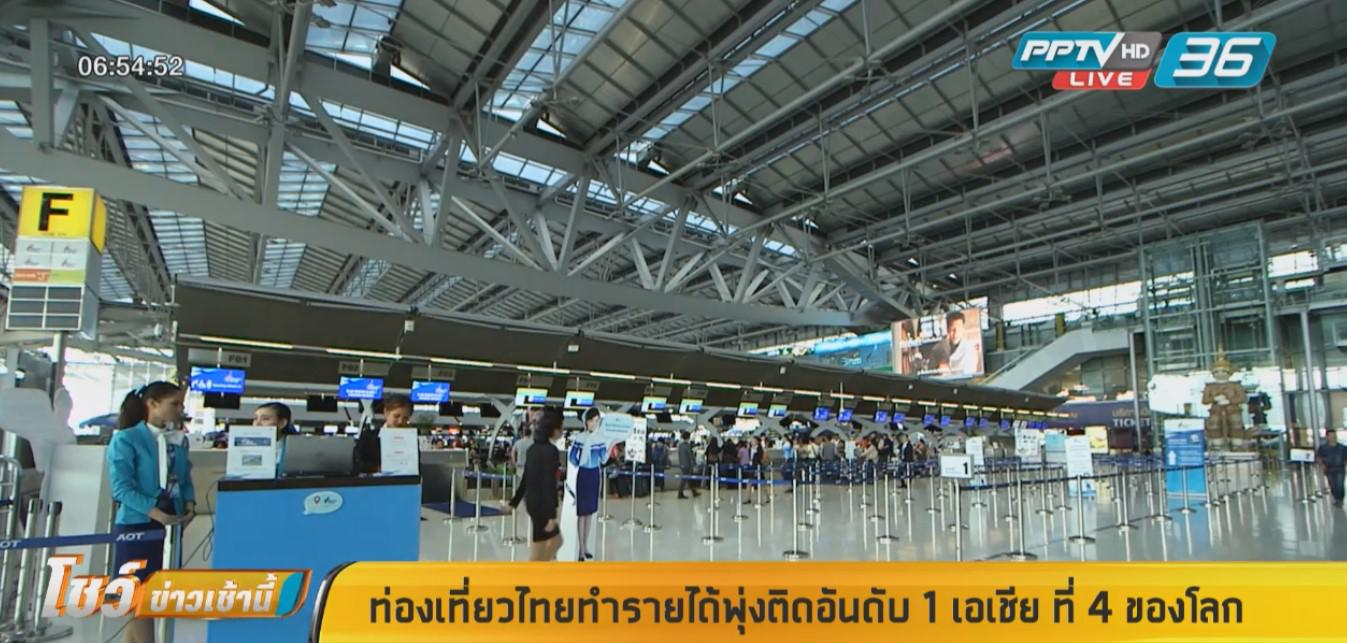 ท่องเที่ยวไทย ทำรายได้พุ่งติดอันดับ 1 เอเชีย ที่ 4 ของโลก
