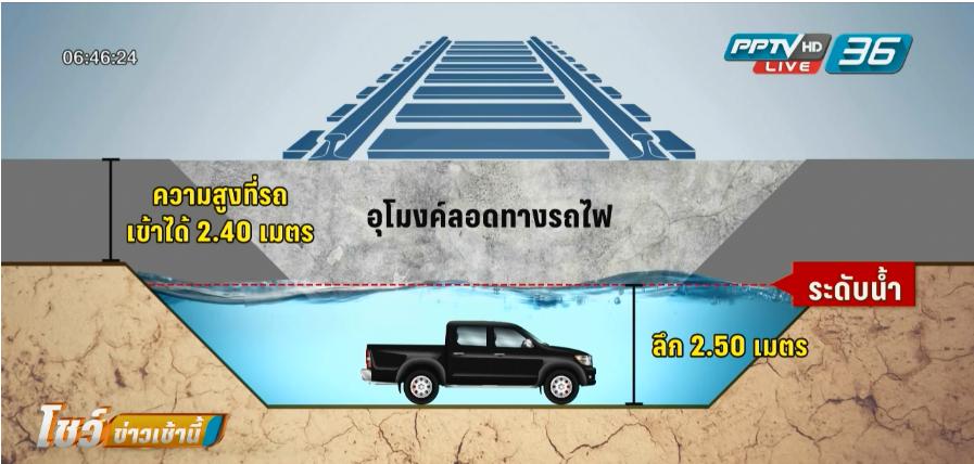 เจ้าหน้าที่ยังไม่สรุปสาเหตุรถกระบะติดใต้อุโมงค์ย่านประเวศ