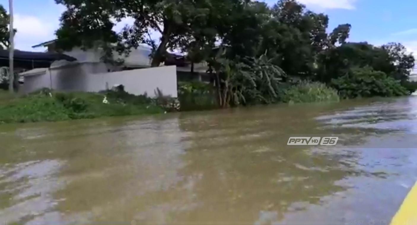 ระดับน้ำ อ.เมืองเพชรบุรียังต่ำกว่าตลิ่ง 1.5 เมตร-ชาวบ้านเตรียมทำแนวคันกั้นน้ำท่วม