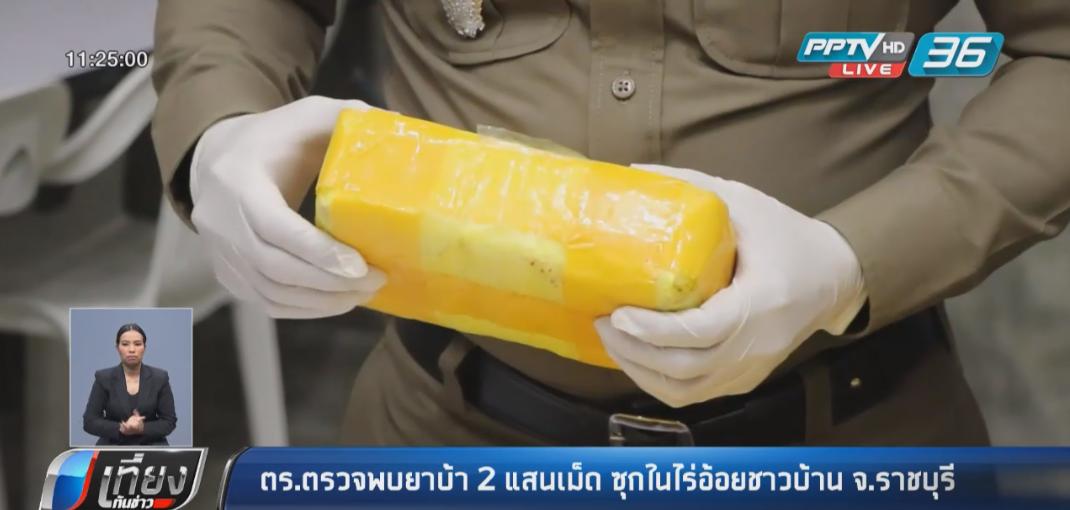 ตร.ตรวจพบยาบ้า 2 แสนเม็ด ซุกในไร่อ้อยชาวบ้าน จ.ราชบุรี