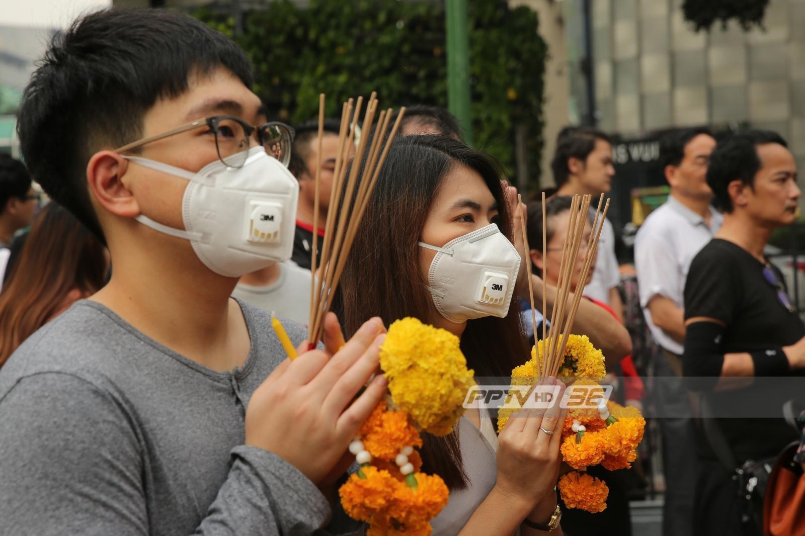 ไม่จุดธูป..สักการะท้าวมหาพรหมแบบปลอด PM2.5