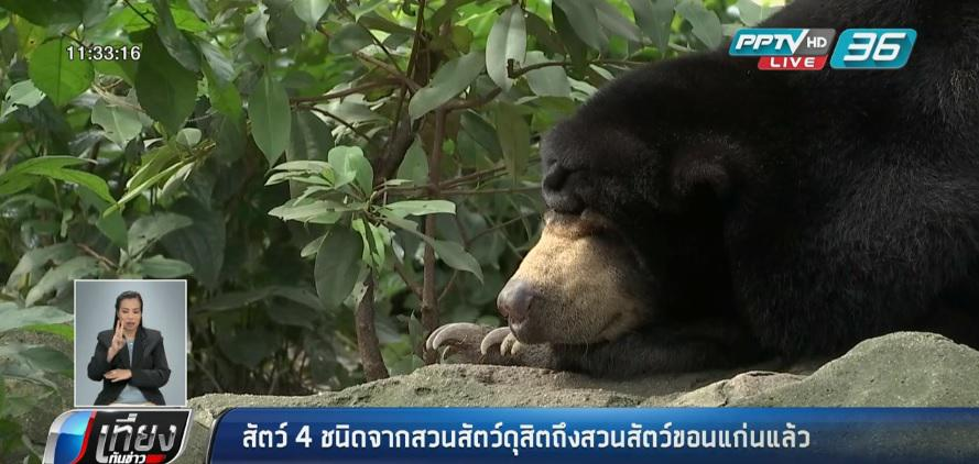 สัตว์ 4 ชนิดจากสวนสัตว์ดุสิตถึงสวนสัตว์ขอนแก่นแล้ว