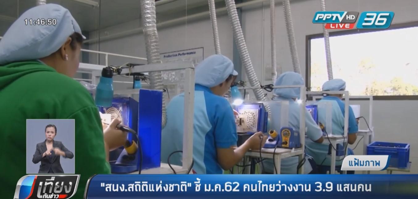 สำนักงานสถิติแห่งชาติ ชี้ ม.ค. 62 คนไทยว่างงาน 3.9 แสนคน