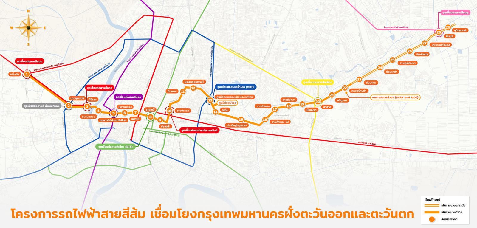 """""""รถไฟฟ้าสายสีส้ม"""" แก้รถติดเชื่อมชานเมืองสู่กลางเมือง"""