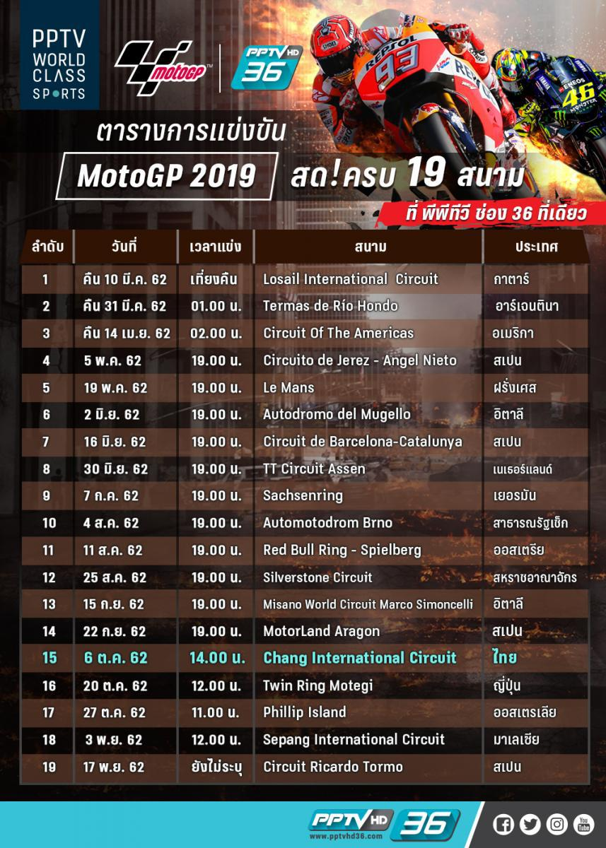 ตาราง MotoGP 2019 ! โปรแกรมถ่ายทอดสด พร้อมเวลาแข่งขัน ทั้งหมด 19 สนาม