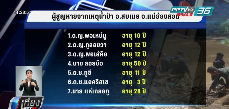 ระดมกำลังค้นหาผู้สูญหาย 7 คนเหตุดินถล่มศูนย์อพยพแม่ละอูน