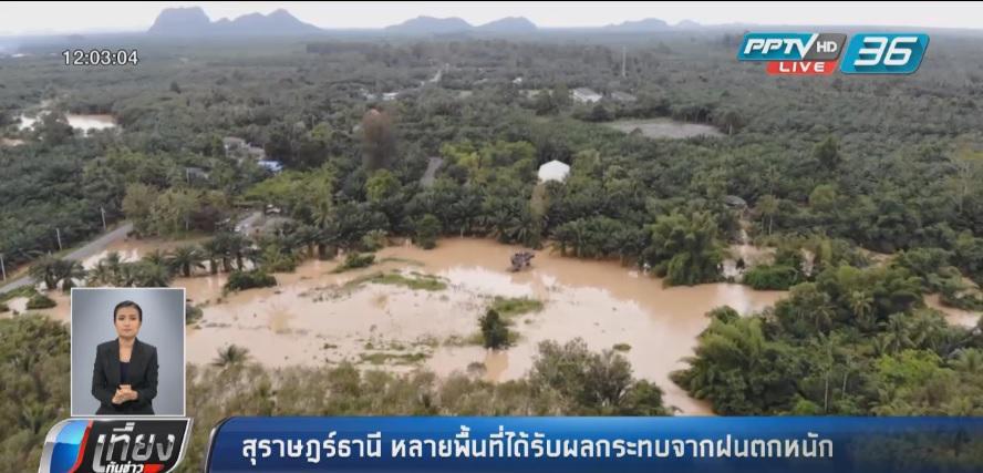 """หลายพื้นที่ใน """"สุราษฎร์ธานี"""" ได้รับผลกระทบจากฝนตกหนัก"""