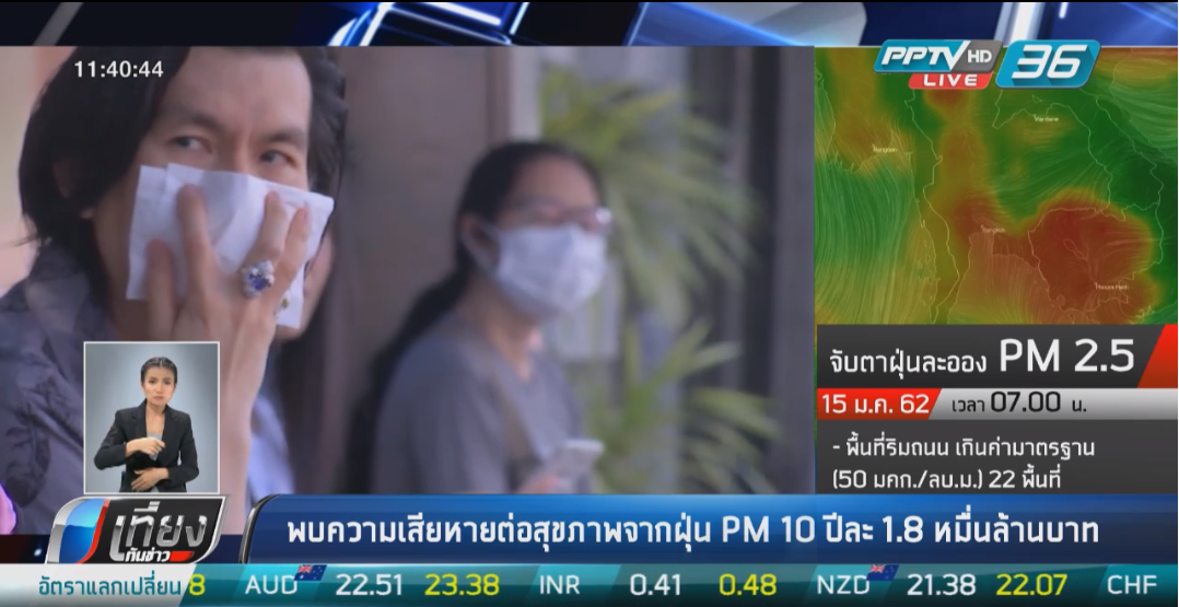 1.8 หมื่นล้านบาท ค่าเสียหายต่อฝุ่น PM10  ที่เพิ่มขึ้นทุก 1 ไมโครกรัมต่อลูกบาศก์เมตร